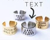 Custom Hand stamped ring. Custom cuff ring. Yoga Jewelry. Custom Jewelry.