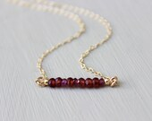 Garnet Bar Necklace, Beaded Bar Necklace, Layered Necklace, Dainty 14K gold fill, delicate gemstone necklace bar