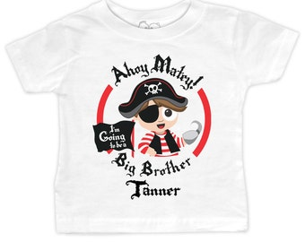 Pirate Big Brother T-shirt or Onesie - I'm going to be a Big Brother - Personalized Pirate Pregnancy Announcement