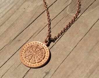 Vintage Dahlia Pendant on Antique Copper Chain Necklace