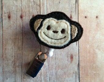 Monkey Badge Clip ID Holder, Embroidered Wool Blend Felt, Retractable Animal Badge Reel Holder, ID Holder, Made in USA