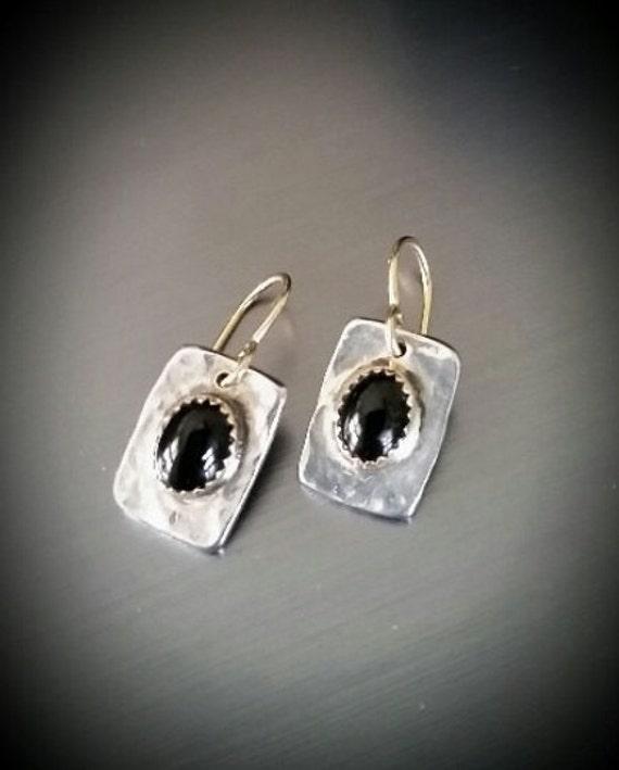 Sterling Silver 14k gold bezel with black a Onyx Earrings