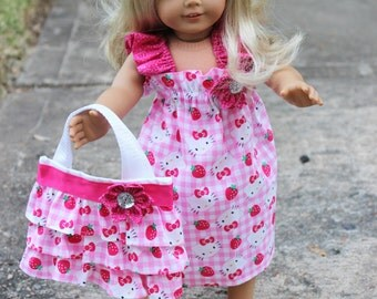 NEW Doll Ruffled Red and Pink Gingham with Polka Dot Hello Kitty Birthday Party Doll Set Dress with matching Ruffled Canvas Tote Bag