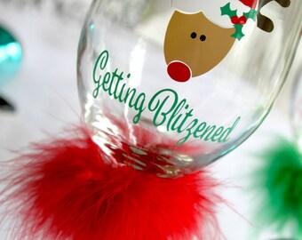 Holiday Wine Glass - Christmas Wine Glass - Reindeer Wine Glass - Blitzen Wine Glass - Getting Blitzened Glass - Christmas Gift - Wine Glass