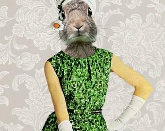 Rabbit Print, Rabbit Art Print, Rabbit Bunny Print, Rabbit Art, Bunny Print, Rabbit Wall Art, 8x10,Green, Wall Decor, Women, Artwork