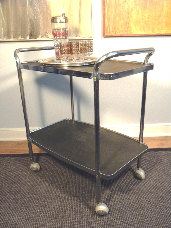 Vintage Mid Century Rolling Bar Cart