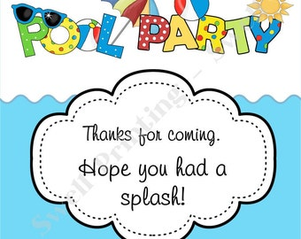 INSTANT DOWLOAD Printable 3-inch Pool Party Favor Tag, Pool Party Birthday, Digital Pool Party Birthday by Swell Printing