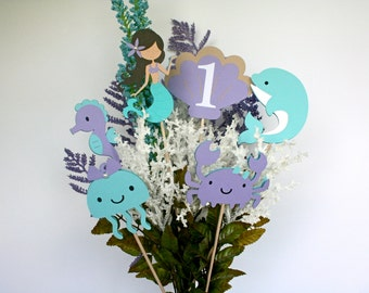 6 piece Mermaid Centerpiece Sticks - Under The Sea Centerpiece sticks