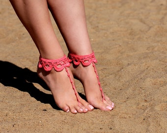 Crochet Coral Barefoot Sandals, Foot jewelry, Bridesmaid gift, Barefoot sandles, Beach, Anklet, Wedding shoes, Beach Wedding, Summer shoes
