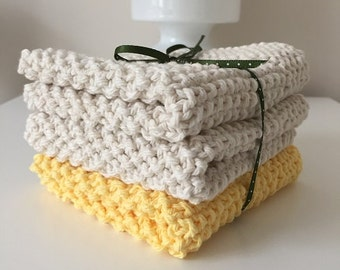 Hand Knit Dish or Wash Cloths (3/Pack)-100% Cotton
