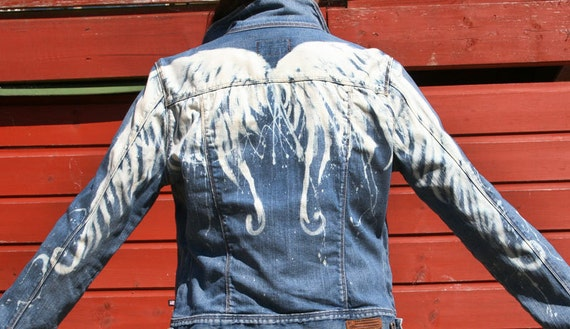 Winged Woman S Ralf Lauren Denim Jacket Hand Bleached