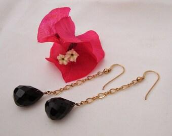Faced BLACK ONYX Briolette EARRINGS*14K Gold Filled Ear Wires