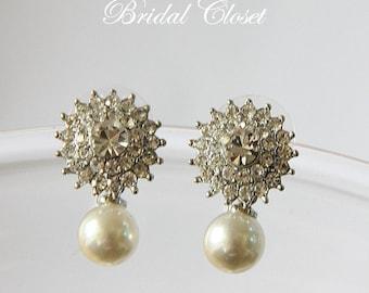 Bridal Earrings, Bridal Crystal Stud Earrings, Bridal Earrings Crystal, Bridal Pearl Studs, Pearl Studs, Wedding Earrings, Crystal Earrings