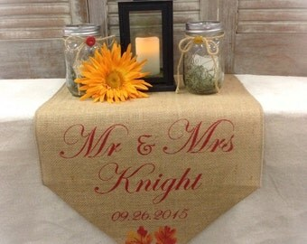 """Burlap Table Runner 15"""" wide monogram sweetheart table runner - Wedding runner Fall wedding decor Monogrammed runner"""