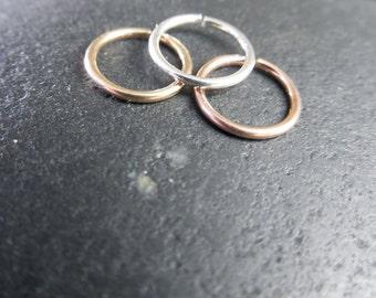 Ultra Super Tiny Nose Rings, Set of Three, Sterling Silver, 14K Gold Filled, 14K Rose Gold Filled, 20 gauge, 22 gauge, Endless Hoop