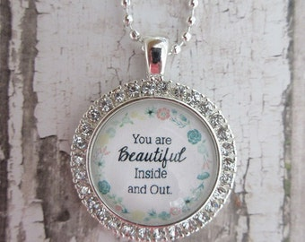 You Are Beautiful Inside And Out Clear Rhinestone Glass Pendant Necklace