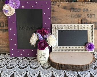 Chalkboards, Set Of Two Custom Chalkboards, Plum and Creme Wedding Decorations, Wedding Signs, Bar Signs, Reception Chalkboard Signs