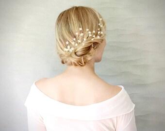 Ivory Baby's Breath Blossom Hair Vine Burst. Wedding Hair Accessory. Baby's Breath Hair Wreath. Bridal Veil Alternative. Floral Hair Comb.