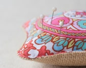 Burlap and cotton pincushion, handmade, small pincushion,,mini cushion, home decor, UK, red blue pink floral print