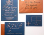"""Nautical Wedding Invitation - The """"Bella"""" Suite - Hand Lettering and Vintage Illustrations - Navy and Copper Octopus Steampunk Wedding Suite"""