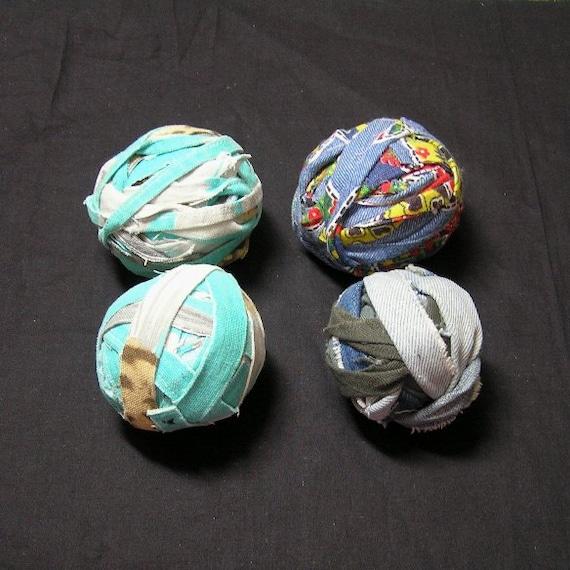 4 Vintage 1970s Fabric Balls In Aqua Home Decor Fabric Denim Bandana Denim 7 To 10 Yards Each Vintage Fabric Decorating Crochet From