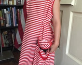 Vintage Childs Costume, Clown Dress, Small Smock, Cobbler Pinafore Apron, Red and White Stripes, Mid Century 1950s