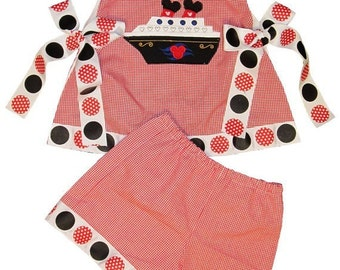 GIRL'S DISNEY Cruise Minnie Mouse Vacation Ship Dress, Swing Top and Shorts or Shirt and Shorts