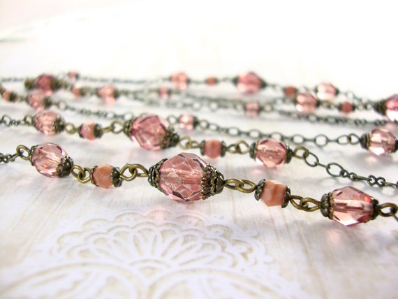 Victorian rose extra long necklace dusty pink antique brass vintage