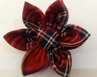 Scottish Tartan Fabric Brooch