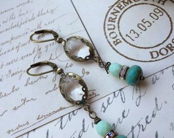 Crystal earrings with mint turquoise Czech glass beads dangle earrings boho chic gypsy girly rhinestone earrings vintage style Victorian