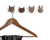 Animal wall hooks - set of 4