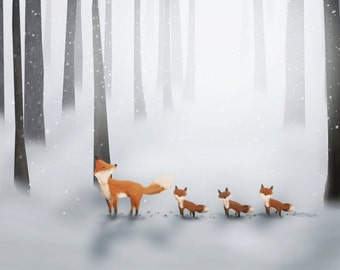 """Foxes - Giclee 8 x 12"""""""