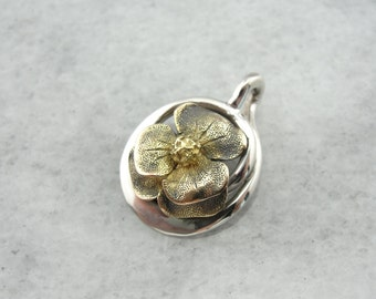Naturally Textured Flower Pendant in Gold and Silver 6Y8ZJF-R