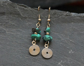 Turquoise earrings, Ethnic earrings, December birthstone, Birthday gift, Silver dangle earrings, Natural Turquoise gemstone jewelry, 1105-12