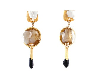 Unique piece #3374 - Gold earrings with semiprecious stone