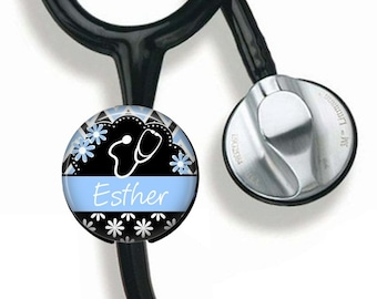 Gift for Nurse, Stethoscope Name Tag, Gift for Nursing Student, Personalized, Identification Tag, Registered Nurse, LVN. Medical Name Tag