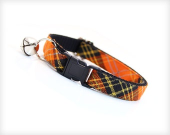 "Fall Cat Collar - ""Hocus Pocus"" - Halloween Cat Collar / Orange & Black Plaid / Cat Collar Breakaway or Non-Breakaway / Cat + Kitten Sizes"