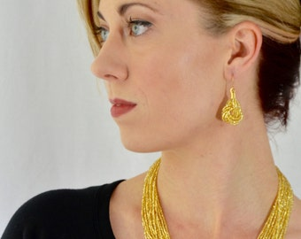 Gold earrings, seed bead earring,sparkly gold earrings,knot gold earrings,bridesmaid, beaded earrings, yellow earrings, boho,bridesmaid gift