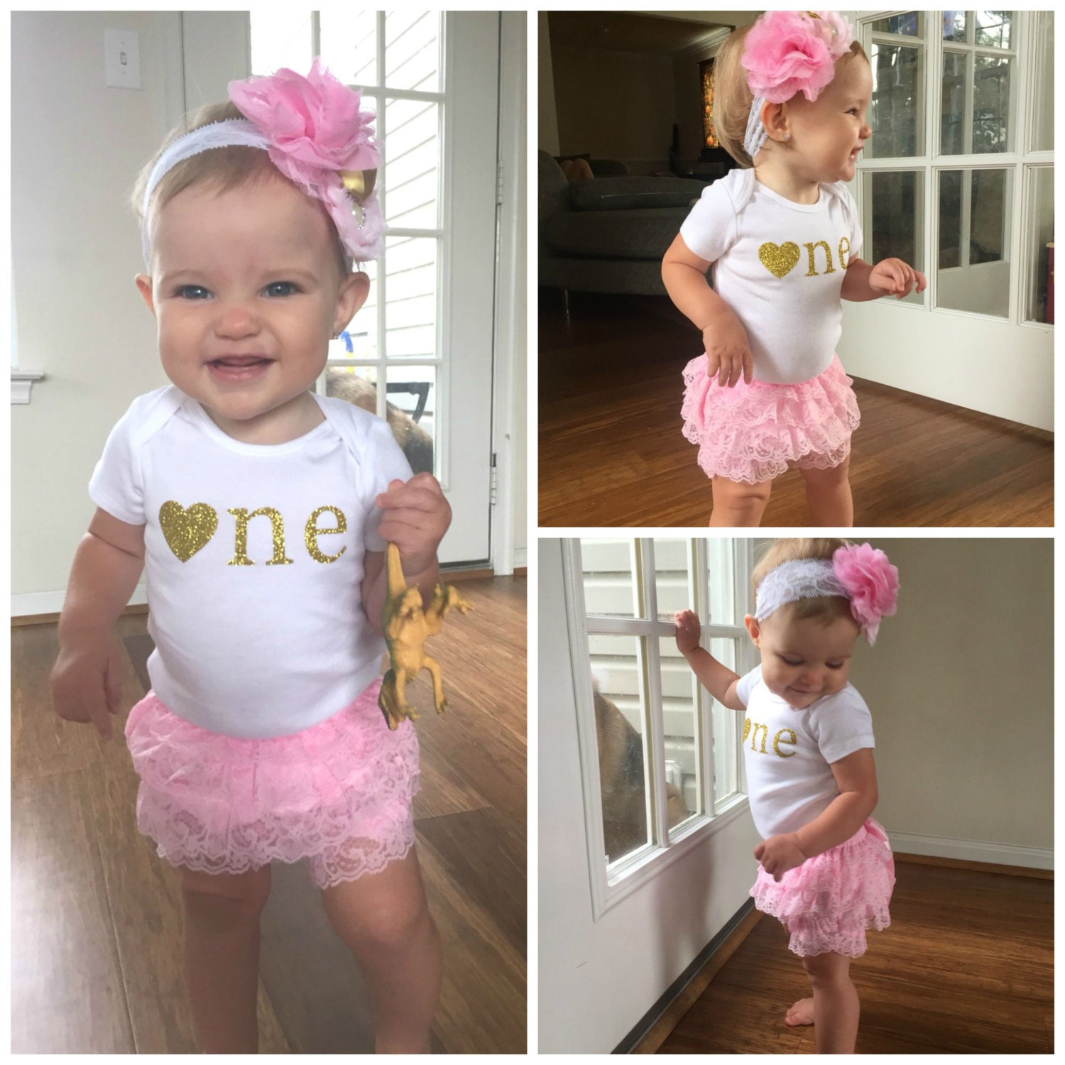 Birthday Party Outfit: Pink And Gold First Birthday Outfit...First Birthday Girl