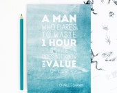 DARWIN QUOTE NOTEBOOK Inspirational Teal Stationery Famous Scientist Plain Pages Geeks Back to School Teacher Gift For Him Science Evolution
