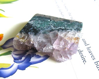 February Birthstone Pendant. Amethyst Druzy Slice Pendant. Natural Raw Amethyst Point Necklace