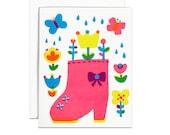 Pink rainboot screenprinted card