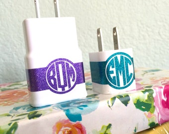 Monogram CHARGER USB WRAP Decal // Monogram Custom Label your Charger Samsung or Apple Chargers