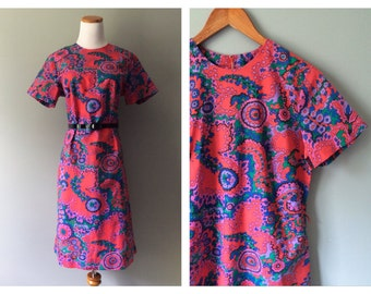 Vintage Mod Mini Dress 1960s Psychedelic Print Dress Short Skirt Floral Printed Pink & Red Hippie Retro Shift Handmade Large XL 12 14 16