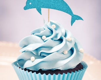 DOLPHIN Treat Picks / Cupcake Toppers (Set of 12) - Pick Your Colors!