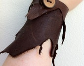 Sale Primal Vandal Witchy Raw Chocolate Brown Tattered Elk Leather Hunter Wrist Arm Gauntlet Bracer Cuff w Apple Wood Button OOAK Halloween