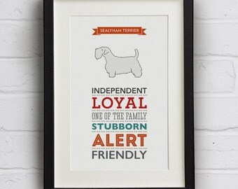 Sealyham Terrier Dog Breed Traits Print - Great Gift for Sealyham Terrier Lovers