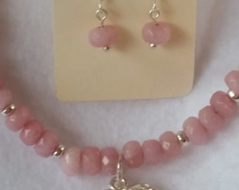 RUBY pink GEMSTONE necklace (and matching EARRINGS)