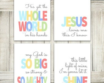 Sunday School Wall Art, Kids Room Decor, Sunday School Songs, Nursery Wall Art, Christian Wall Art, Bible Songs, Kids Decor, Nursery Print