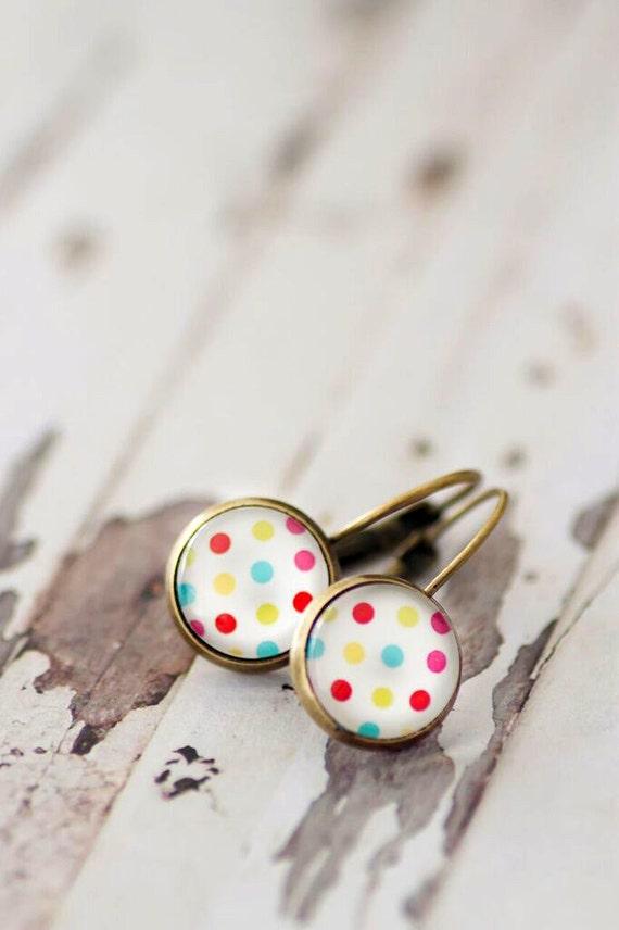 Polka Dot Lever Back Earrings - FREE POSTAGE WORLDWIDE - Drop Earrings - Rainbow - Bronze - Glass Earrings - Glass Gun Metal - Jewelry